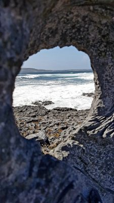 The sea and Inis Meain through the eye of the memorial to those lost at sea | Paddy Crowe