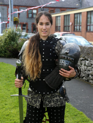 Four times world champion I.M.C.F. Lara Serviolle demonstrating the use of Medieval weapons at the Athenry Walled Town's Day. | Photo: Hany Marzouk