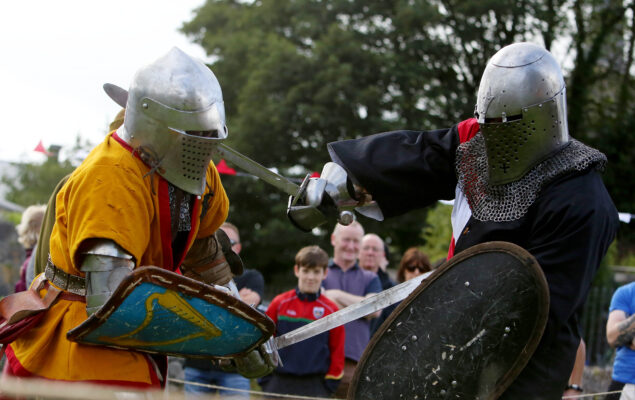 Brendan Halpin and Michael Dugon of Medieval Armed Combat Ireland displaying the Medieval fights at the Athenry walled towns Day, Co. Galway. | Photo: Hany Marzouk