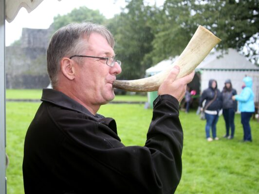 Simon O'Dwyer demonstrating ancient music in Ireland at the Athenry Walled Towns Day, Co. Galway. | Photo: Hany Marzouk
