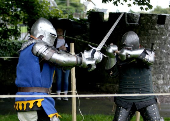Members of Medieval Armed Combat Team demonstrating the Medieval sword fighting at the Athenry Walled Towns Day, Co. Galway. | Photo: Hany Marzouk