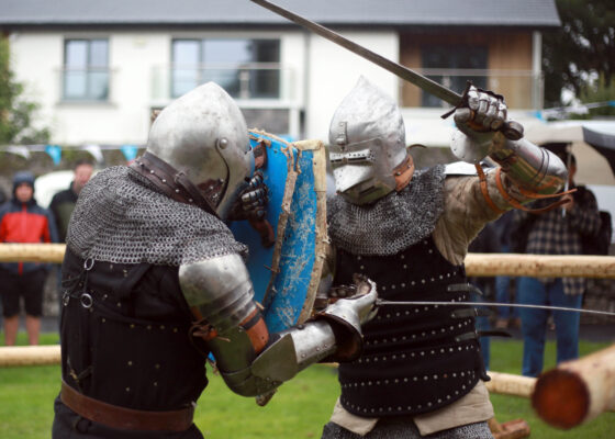 Anthoy Power and Brendan Halpin of Medieval Armoured Combat Ireland taking part at the Athenry Walled Town's Day, Co. Galway as a 1916 fitter as part of the National Heritage Week. | Photo: Hany Marzouk