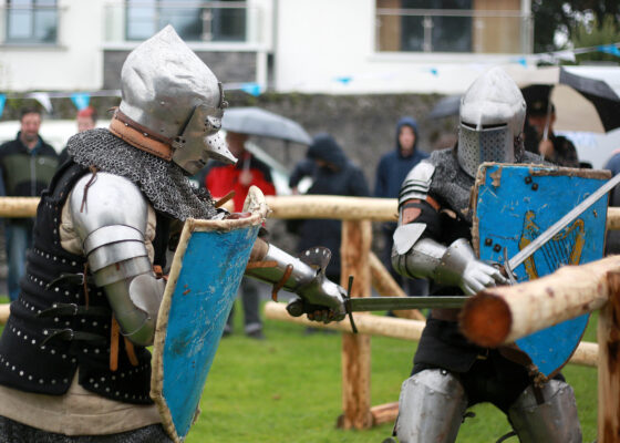 Anthoy Power and Brendan Halpin of Medieval Armoured Combat Ireland taking part at the Athenry Walled Towns Day, Co. Galway as a 1916 fitter as part of the National Heritage Week. | Photo: Hany Marzouk