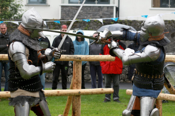Anthony Power and Brendan Halpin of Medieval Armoured Combat Ireland taking part at the Athenry Walled Town's Day, Co. Galway as a 1916 fitter as part of the National Heritage Week. | Photo: Hany Marzouk