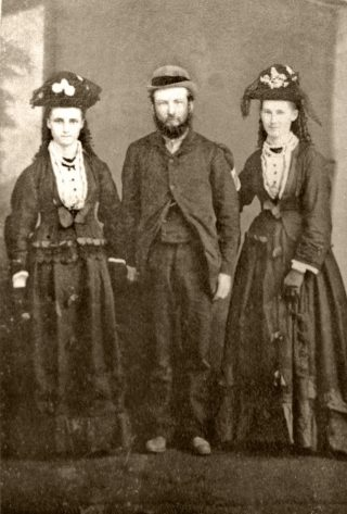 Taken in 1891, shows Tom Blackmore, his wife and sister in law. (left to right) Annie Hale, Thomas Blackmore and Dora Blackmore (née Hale).