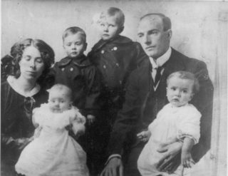 from left: Nan. Brian, Hubert, Grandfather, Ronnie, Hilda Lyons.  (About 1915) |  Photo Courtesy of Maurice Lyons