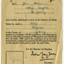 Butter Retailer's Licence issued on 1st December 1941 | John Holohan