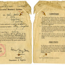 Licence to sell Kerosene dated25th August 1941 | John Holohan
