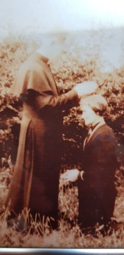 Fr Pat Abberton giving a blessing to his mother, Maria Abberton, on the occasion of his ordination. | Courtesy: Paula Abberton